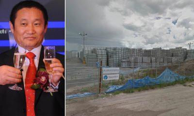 Ông Lưu Điền Trung và kho nhôm của công ty China Zhongwang. (Ảnh: Daily Mail)