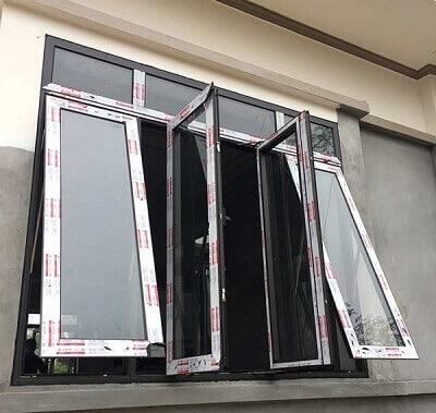 Cửa sổ nhôm Xingfa đẹp màu ghi đen