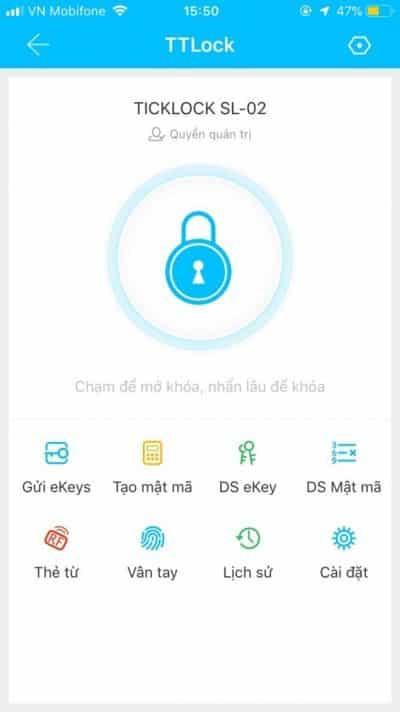 Giao diện của ứng dụng quản lý khóa trên điện thoại.