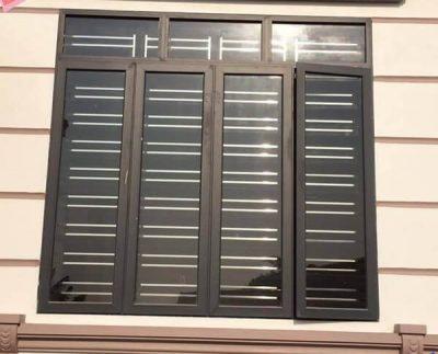 Cửa sổ nhôm Việt Pháp 4 cánh đẹp màu đen