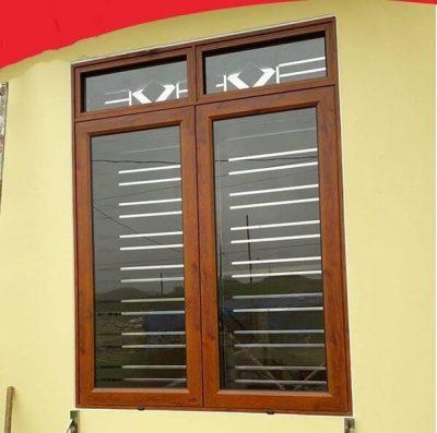 Cửa sổ nhôm Việt Pháp 2 cánh vân gỗ đẹp