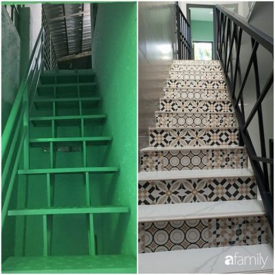 Cầu thang trước và sau khi cải tạo.