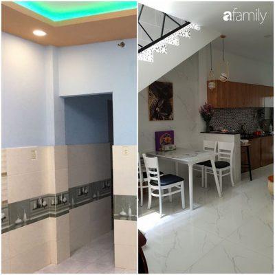 Phòng bếp và bộ bàn ăn được đặt vào không gian mới rất hợp lý.