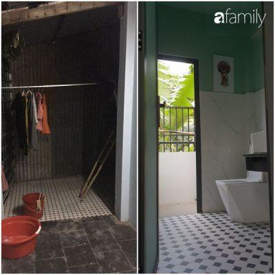 Phòng tắm ở tầng 2 trước và sau khi cải tạo.