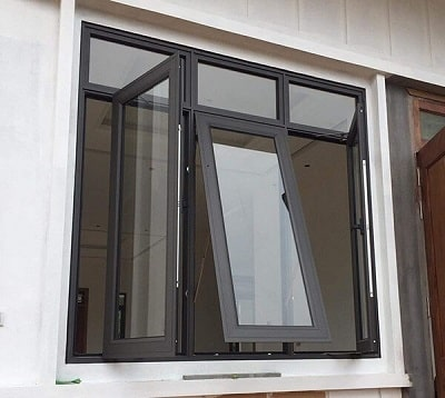 Mẫu cửa nhôm kính màu ghi